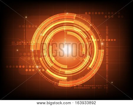 Abstract orange circle digital technology background futuristic structure elements concept background design
