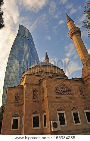 Martyrs' mosque and Flame towers Baku city