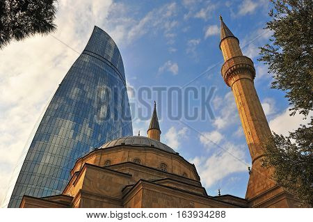 Martyrs' mosque and Flame tower in Baku