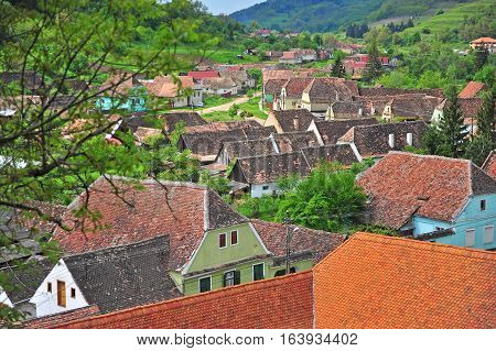 Typical romanian village in transylvania on summer