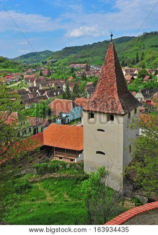 Tower of Beirtan church in Transylvania; Romania