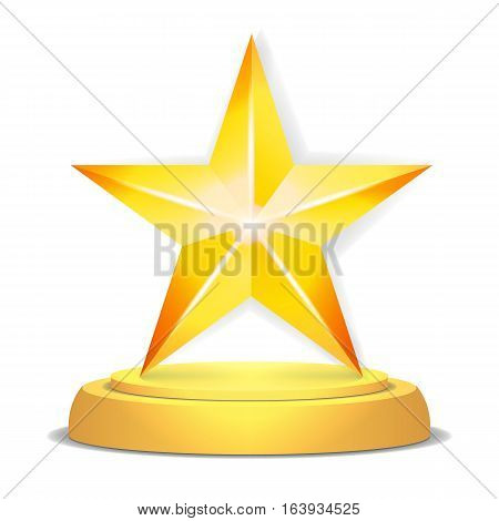 Gold Star Award. Shiny Vector Illustration. Modern Trophy, Challenge Prize. Beautiful Label Design. Isolated Vector Illustration