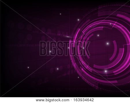 Abstract purple circle digital technology background futuristic structure elements concept background design