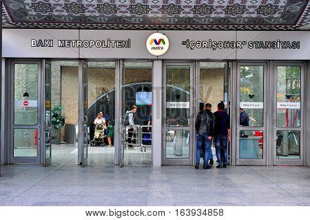 BAKU AZERBAIJAN - SEPTEMBER 25: Entrance to the metro station of Baku on September 25 2016. Baku is a capital and largest city of Azerbaijan.