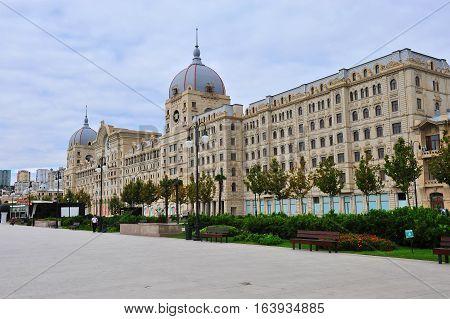 BAKU AZERBAIJAN - SEPTEMBER 26: Fizuli street in downtown of Baku city on September 26 2016. Baku is a capital and largest city of Azerbaijan.