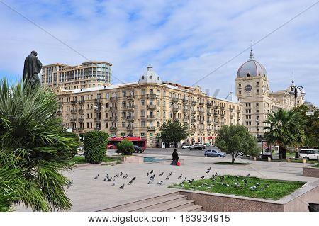 BAKU AZERBAIJAN - SEPTEMBER 26: View of boulevard in Fizuli street Baku on September 26 2016. Baku is a capital and largest city of Azerbaijan.