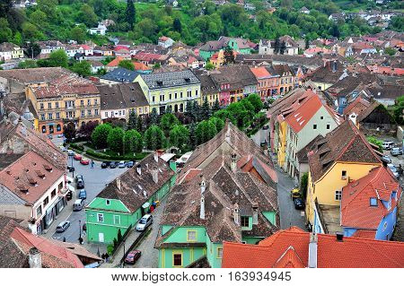 SIBIU ROMANIA - MAY 5: Top view of Sighisoara old town Romania on May 5 2016. Sibiu is the city located in Transylvania region of Romania.