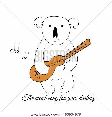 Vector Drawn Koala With A Guitar. The Nicest Song For You, Darling.