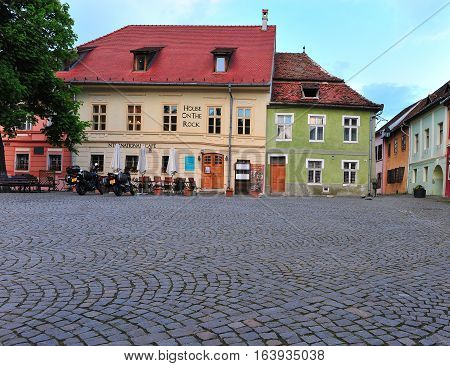 SIBIU ROMANIA - MAY 5: View of the square of Sighisoara old town Romania on May 5 2016. Sibiu is the city located in Transylvania region of Romania.