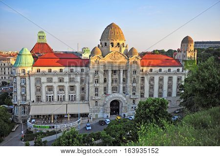 BUDAPEST HUNGARY - MAY 21: Top view of Gellert hotel and thermal spa Budapest on May 21 2016. Budapest is the capital and largest city of Hungary.