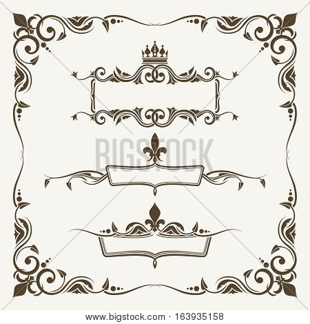 Royal crowns and fleur de lys ornate frames. Decoration curled frame and elements victorian, vector illustration