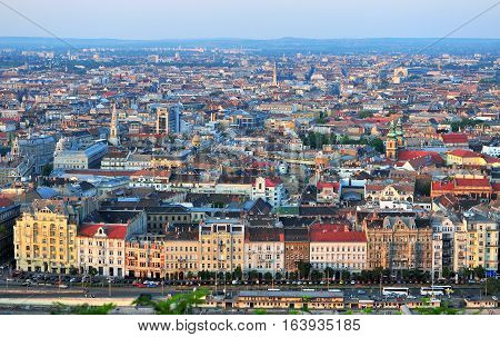 BUDAPEST HUNGARY - MAY 21: Panoramic view of Budapest city centre on May 21 2016. Budapest is the capital and largest city of Hungary.