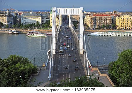 BUDAPEST HUNGARY - MAY 23: Elisabeth bridge and Budapest city centre on May 23 2016. Budapest is the capital and largest city of Hungary.