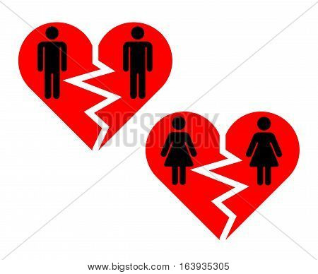 Broken heart gay pairs icons. Broken love social, vector illustration