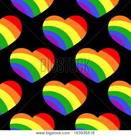 Gay LGBT seamless pattern with rainbow hearts. Background with colored heart. Vector illustration