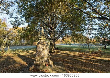 Hemel Hempstead England - November 2016: Garden of Amaravati Buddhist Monastery. Amaravati is a Theravada Buddhist monastery situated at the eastern end of the Chiltern Hills in south-east England. It is near the Hertfordshire village of Great Gaddesden.