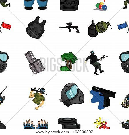 Paintball pattern icons in cartoon design. Big collection of paintball vector symbol stock illustration