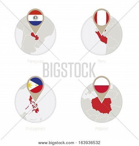 Paraguay, Peru, Philippines, Poland Map And Flag In Circle.