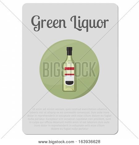 Green liquor alcohol. Sticker with bottle and description vector illustration