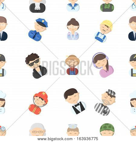 Proffesion pattern icons in cartoon style. Big collection proffesion vector symbol stock