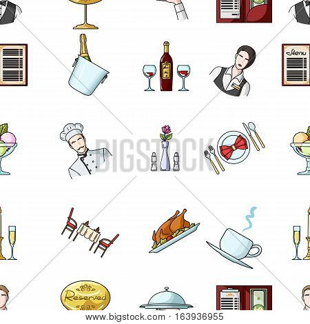 Restaurant pattern icons in cartoon style. Big collection of restaurant vector symbol stock