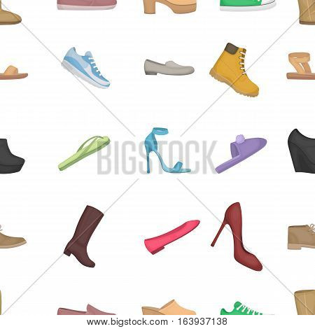 Shoes pattern icons in cartoon style. Big collection of shoes vector symbol.