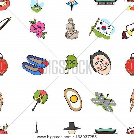 South Korea pattern icons in cartoon style. Big collection of South Korea vector symbol.