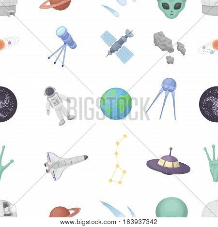 Space pattern icons in cartoon style. Big collection of space vector symbol.
