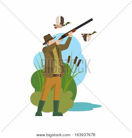 Hunter and prey. Duck hunting and hunter icon. Vector illustration