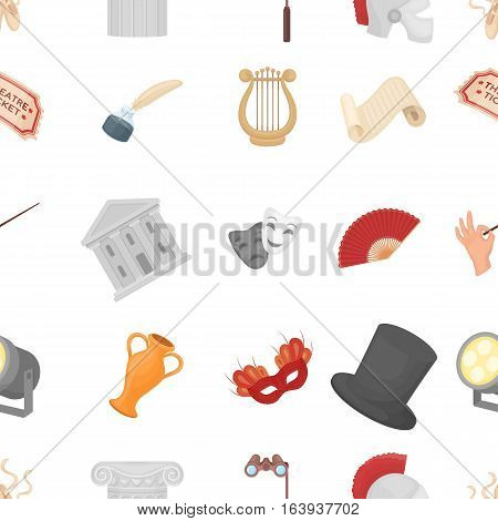 Theater pattern icons in cartoon style. Big collection of theater vector symbol.