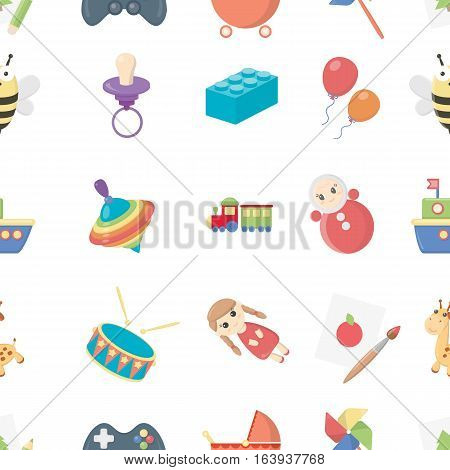 Toys pattern icons in cartoon style. Big collection toys vector symbol stock
