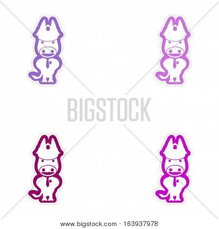 Set of paper stickers on white background donkey cop