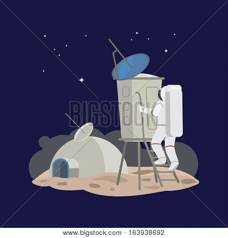 Astronaut in space on the planet, extraterrestrial exploration. Vector illustration