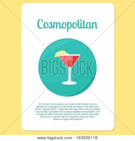 Cosmopolitan cocktail menu item or sticker. Party drink in circle icon vector illustration