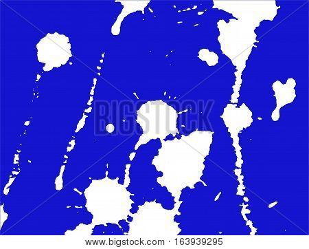 Ink splash stains and strokes. Paint splatter. White blots on blue. Splatter Background. Vector illustration. Abstract background. Grunge template.