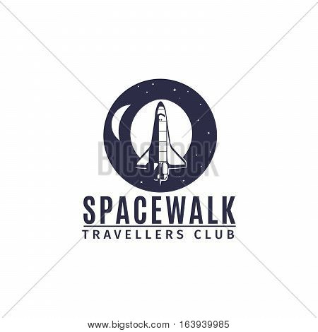 Spacewalk astronautic traveller club vector logo design with space rocket in retro style