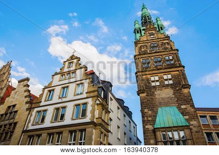 City Hall Tower and other historic buildings in Muenster Germany