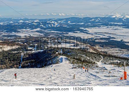 Winter in High Tatras Mountains. High Tatry, Slovakia. Alpine skiing.