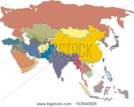 Colorful vector Asia map with country borders