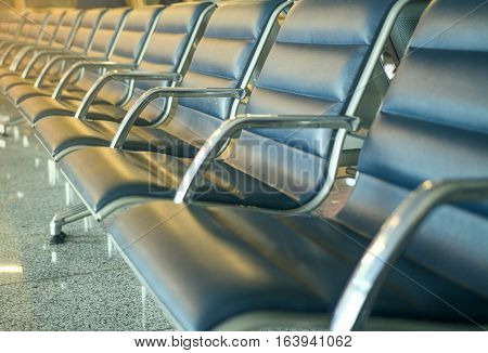 The waiting room at the airport. Empty seats in airport. Seats for passengers.
