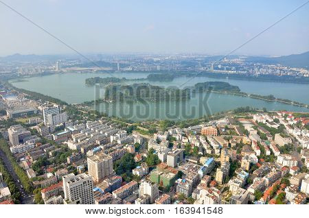Aerial view of Xuanwu Lake from Zifeng Tower in Nanjing, Jiangsu Province, China.