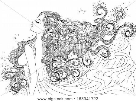 Line art. Vector illustration of a beautiful young woman with long hair in a flowing dress in the form of the water element. Isolated on white background. Coloring book page for adults
