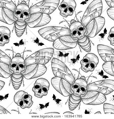 Vector seamless pattern with dotted black Death's head hawk moth or Acherontia atropos on the white background. Background with butterfly and skull in dotwork style.