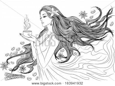 Line art. Vector illustration of a beautiful young girl with long hair in a flowing dress with a cup of hot coffee in her hands. Isolated on white background. Coloring book page for adults
