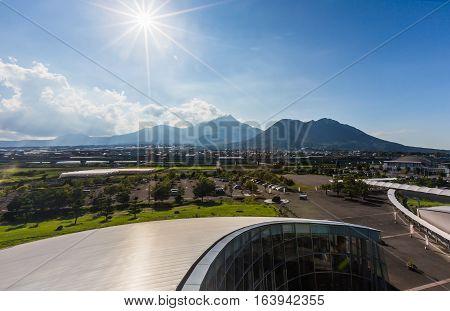 Unzen vocano mountain from distance in Kyushu