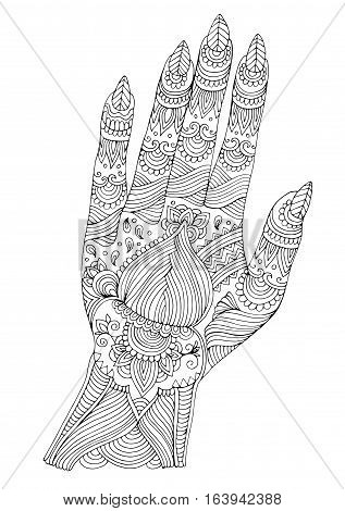 Vector hand drawn tattooed hand with mehendi patterns. Pattern for coloring page A4 size Indian traditional lifestyle. Ornament coloring book for adults.