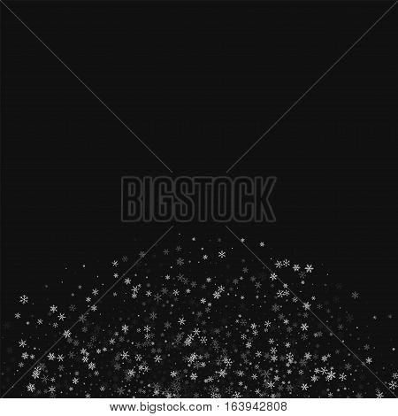 Beautiful Snowfall. Bottom Semicirclee On Black Background. Vector Illustration.