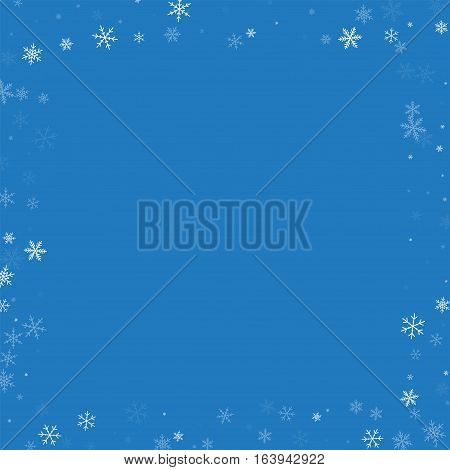 Sparse Snowfall. Square Scattered Border On Blue Background. Vector Illustration.