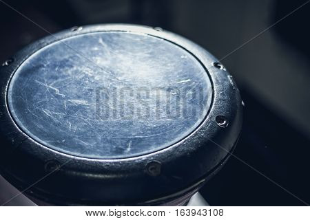 Goblet drum or darbuka percussion musical instrument on dark background