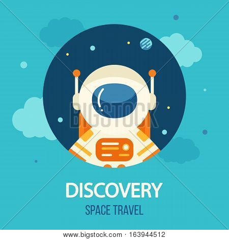 Cosmos discovery poster, exploration and travel theme. Astronaut in outer space, flat style, vector illustration